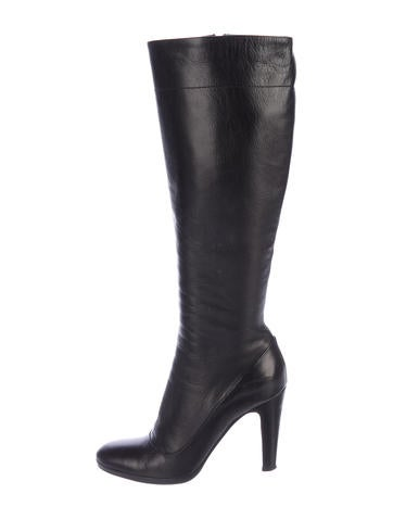 discount wide range of countdown package cheap price Prada Leather Round-Toe Knee-High Boots outlet free shipping qjY9Yoat