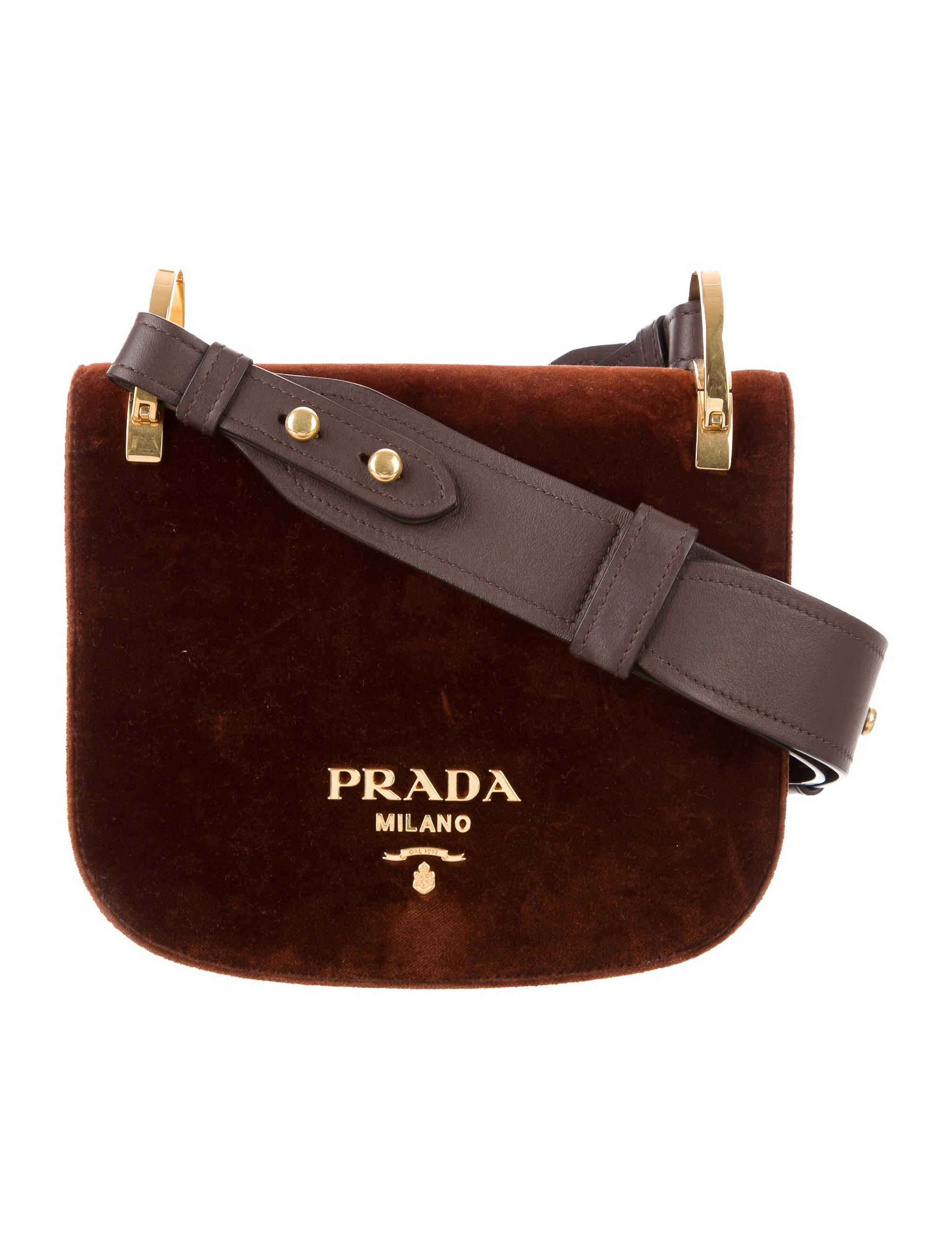 c71cf5d1ad28 Prada Pionnière Velvet Saddle Bag - Handbags - PRA171125