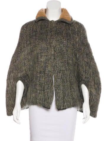 Prada Wool-Trimmed Mohair Cape None