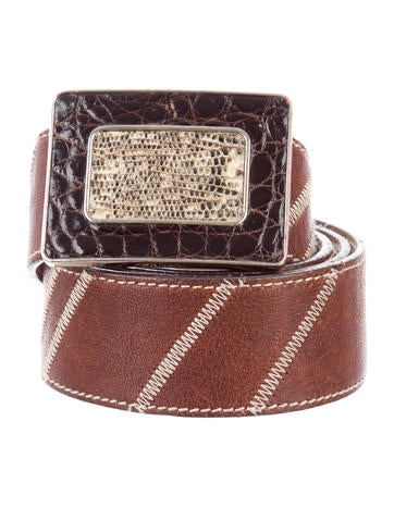 Prada Lizard-Trimmed Buckle Belt None