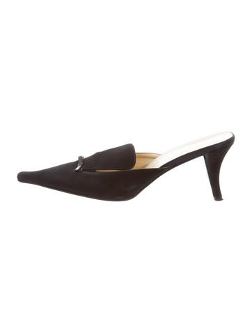 Prada Pointed-Toe Satin Mules None