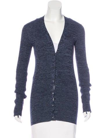 Prada Rib Knit Long Sleeve Cardigan None