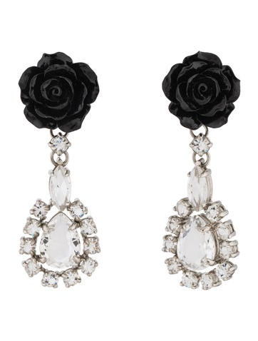 Prada Crystal & Resin Flower Clip-On Earrings
