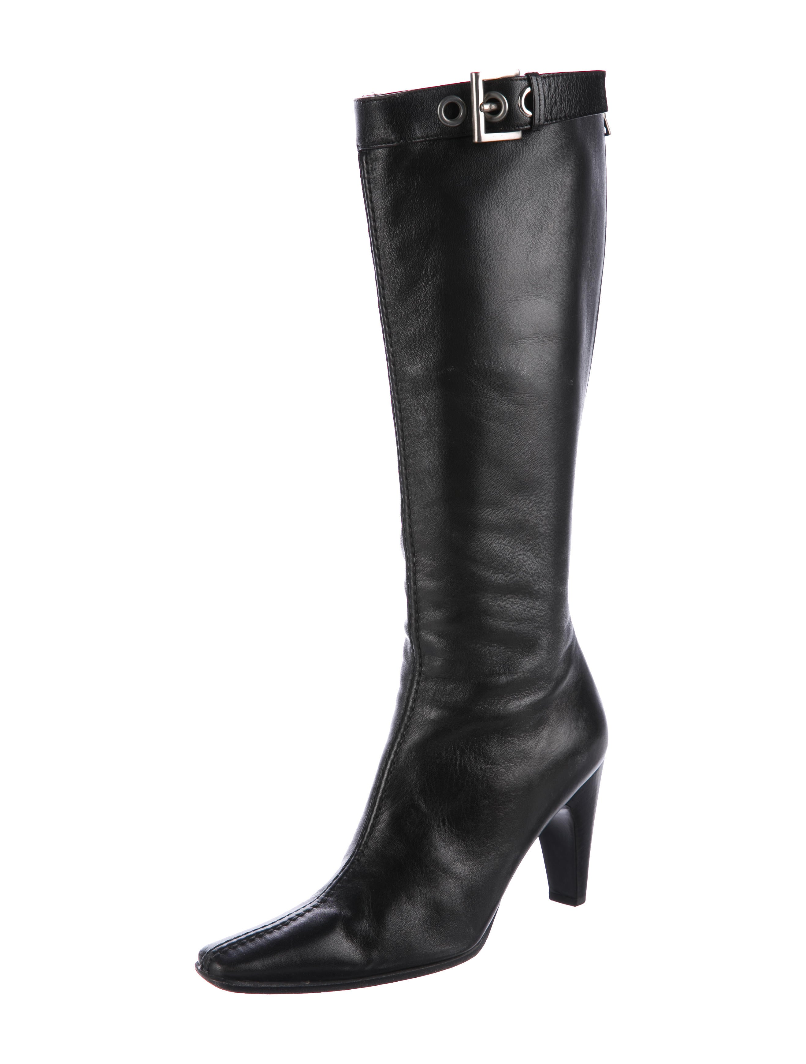 prada leather knee high boots shoes pra173550 the
