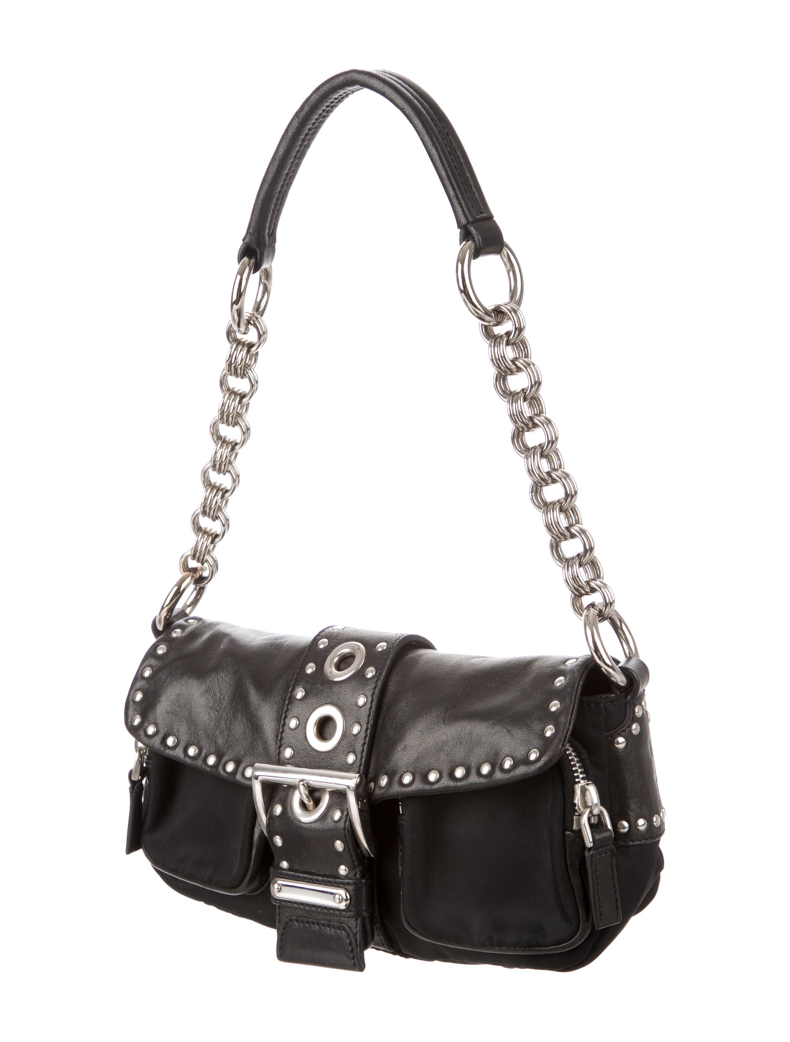 24942637d5b8 Prada Studded Leather & Tessuto Baguette - Handbags - PRA173602 | The  RealReal