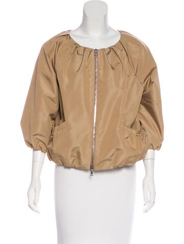 Prada Silk-Blend Zip-Front Jacket None