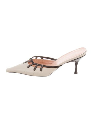 Prada Pointed-Toe Leather Mules None
