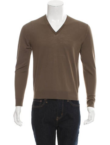 Prada V-Neck Rib Knit-Trimmed Sweater None
