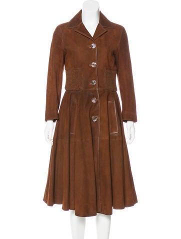 Prada Suede Long Coat None