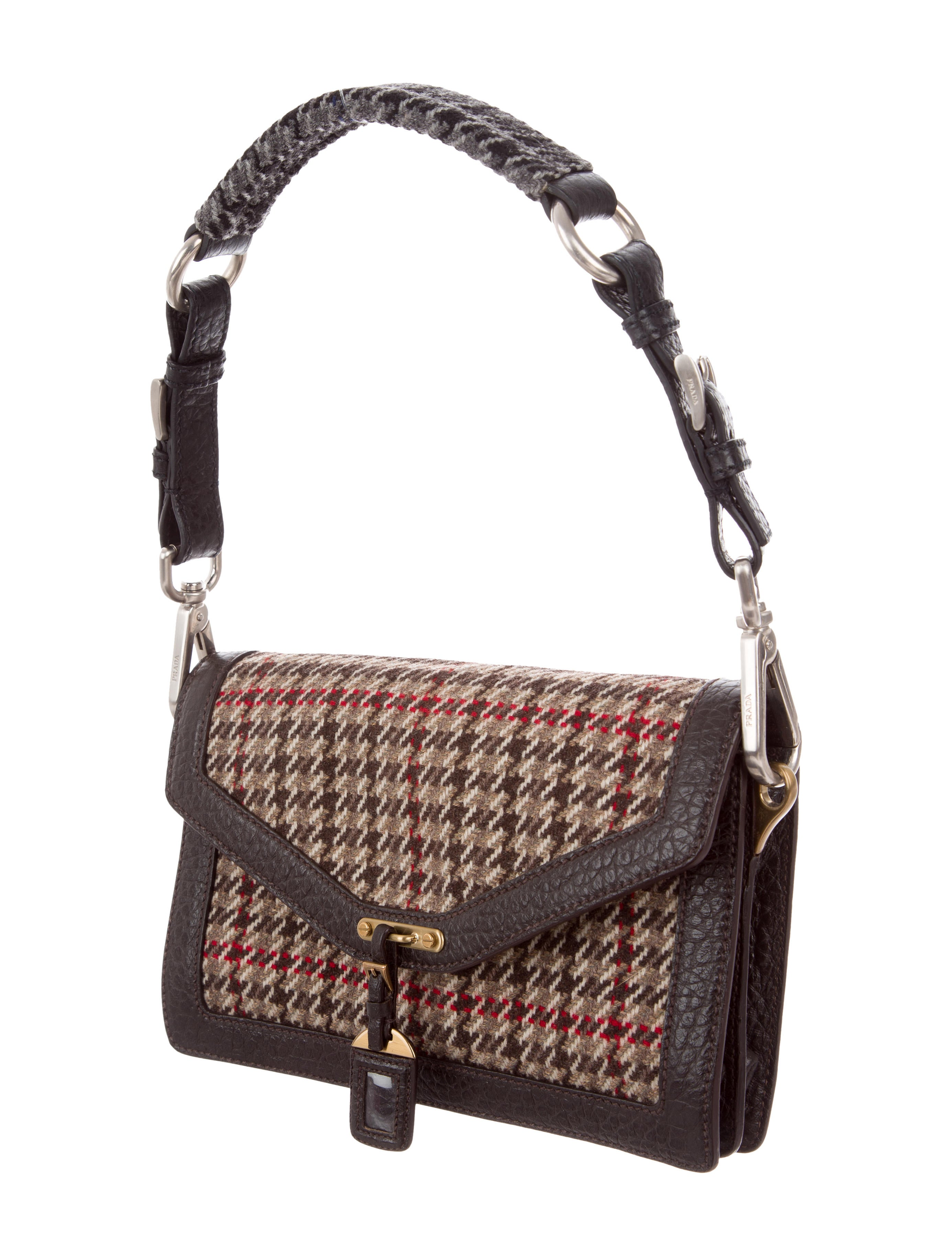 0fb8fa7b00 Prada Tweed   Leather Shoulder Bag - Handbags - PRA175519