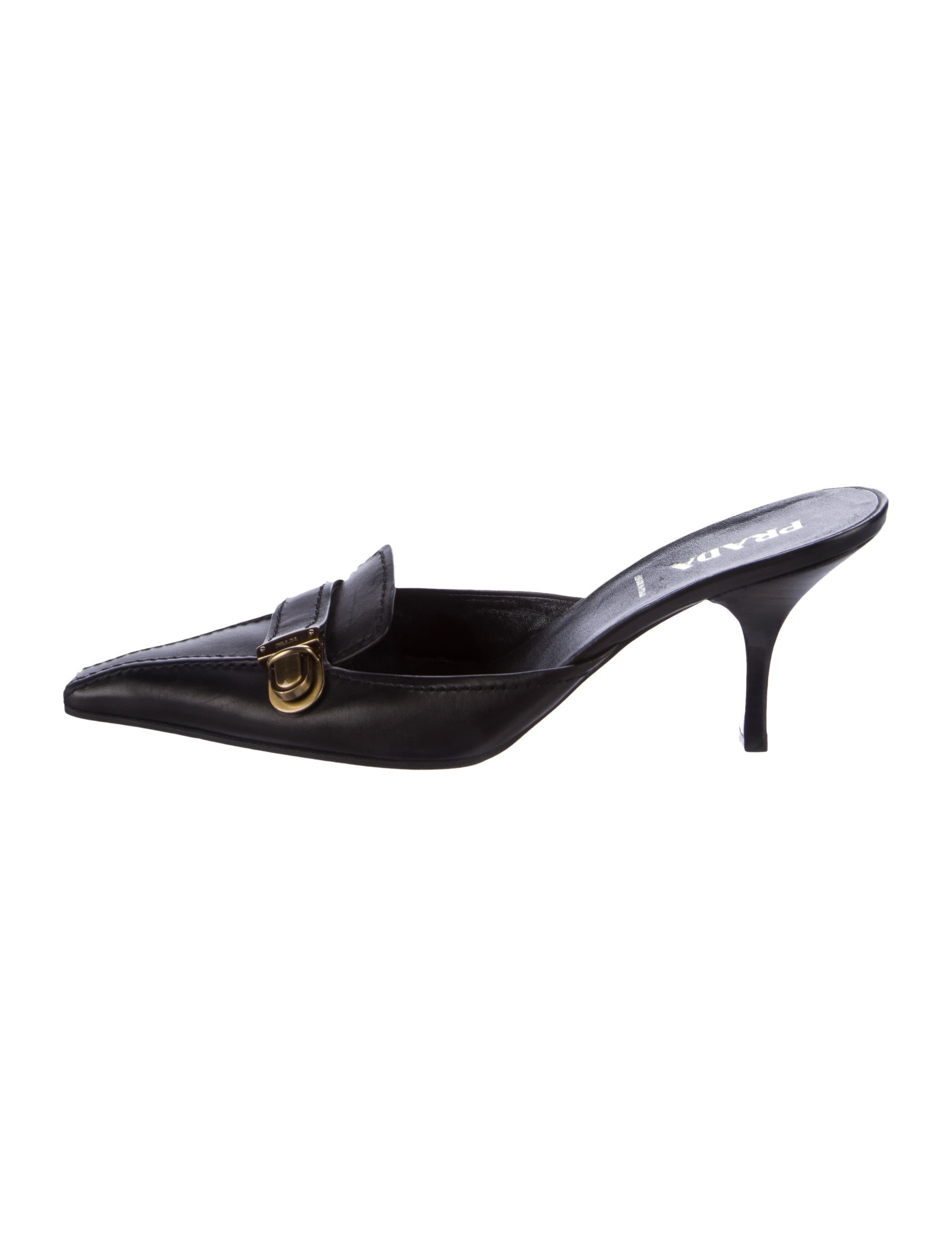 Prada Leather Square-Toe Mules the cheapest cheap online clearance Manchester newest genuine online szA9XnF