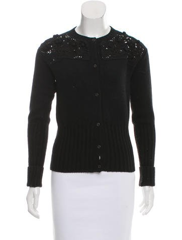 Prada Knit Crochet-Paneled Cardigan None