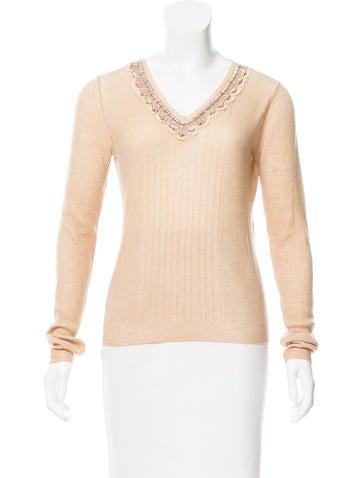 Prada Embellished Long Sleeve Sweater None