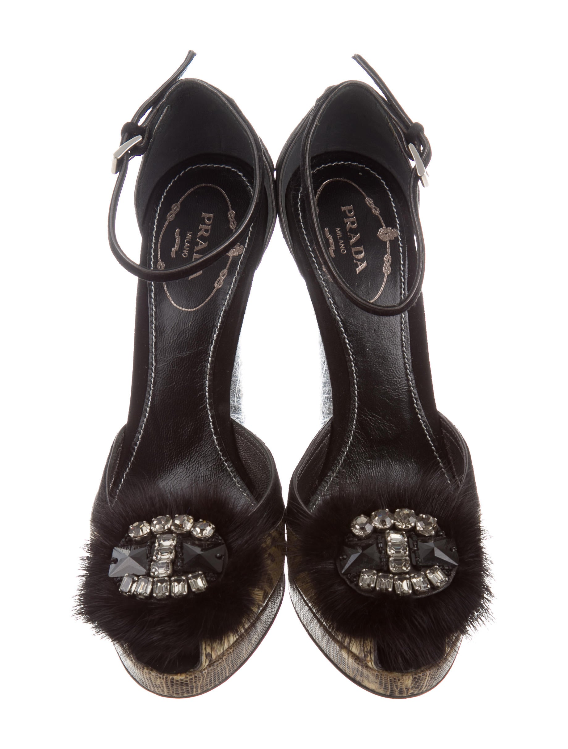 Prada Fur-Trimmed Peep-Toe Sandals cheap prices reliable buy cheap professional IFOiH