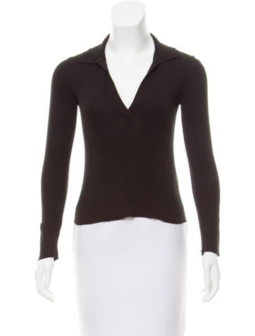 Prada Rib Knit V-Neck Sweater None