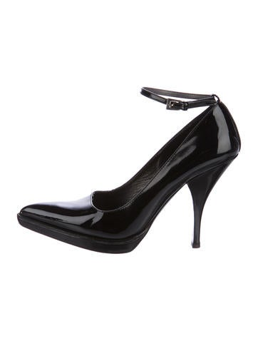 Prada Patent Leather Pointed-Toe Pumps None