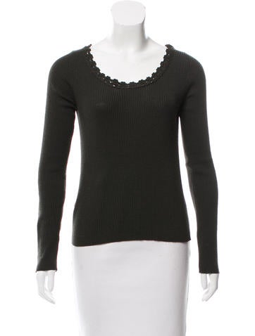 Prada Rib Knit Wool Top None