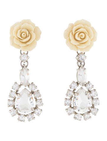 Prada Resin & Crystal Floral Drop Earrings