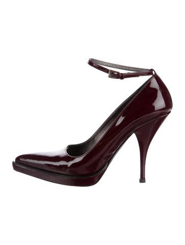 Prada Patent Leather Ankle Strap Pumps None