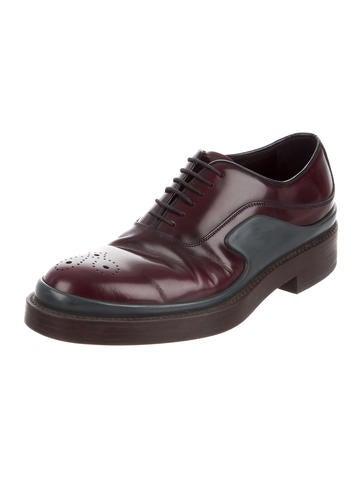 Prada Leather Round-Toe Oxfords sast wSkLYneI