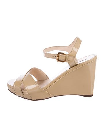 Prada Patent Leather Wedge Sandals None