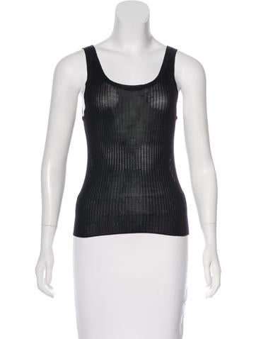 Prada Rib Knit Sleeveless Top None