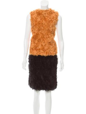 Prada Faux Fur Skirt Set None