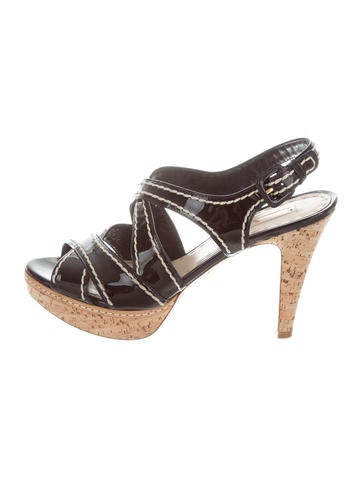 Prada Patent Leather Platform Sandals None