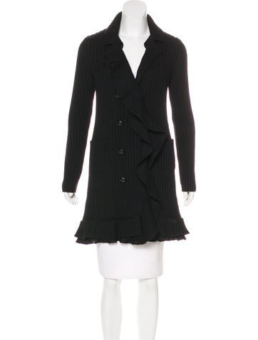 Prada Wool Ruffle-Trimmed Cardigan None