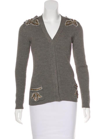 Prada Embellished Rib Knit Cardigan None