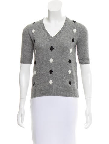 Prada Geometric Intarsia Cashmere Sweater None
