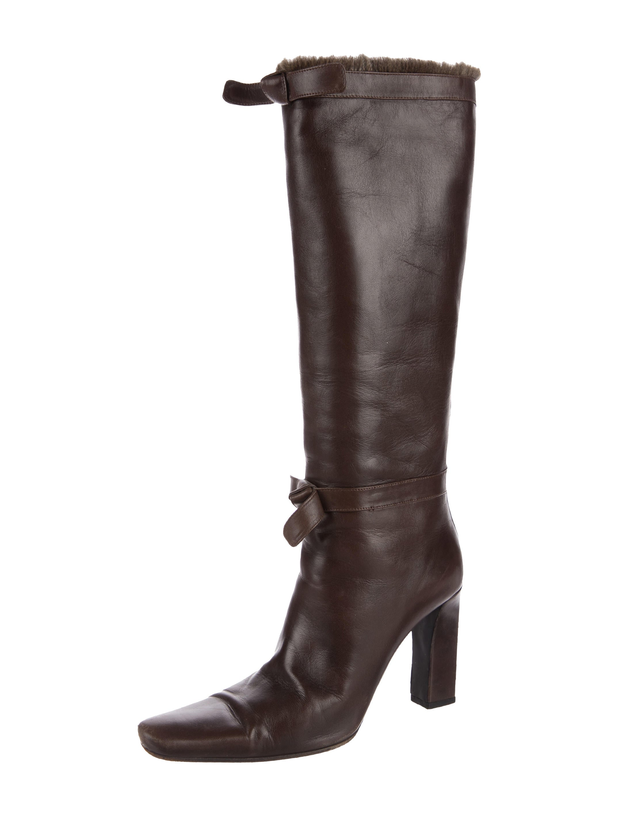 cheap shop offer sale fake Prada Rabbit-Trimmed Knee-High Boots oqS7t