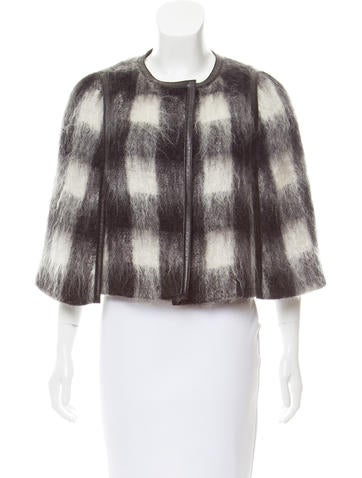Prada Mohair Leather-Trimmed Cape None