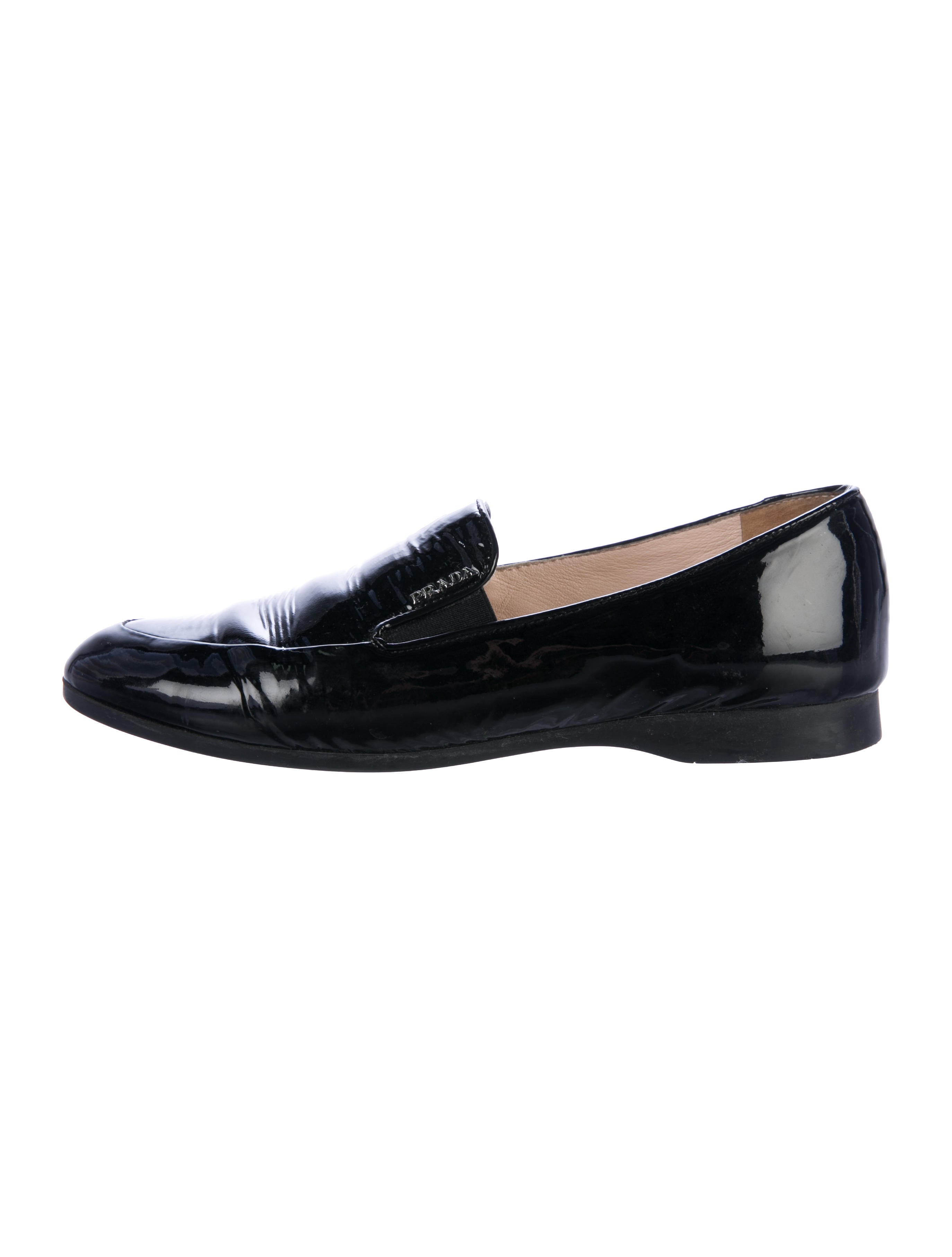 clearance ebay Prada Patent Leather Round-Toe Loafers visit cheap online GTEq2QK9Lp