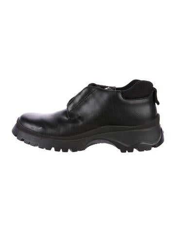 Prada Leather Lace-Up Booties None