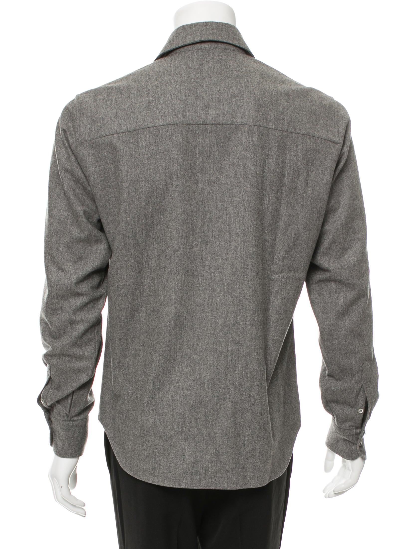 Prada wool flannel shirt clothing pra182867 the realreal for Mens wool flannel shirt