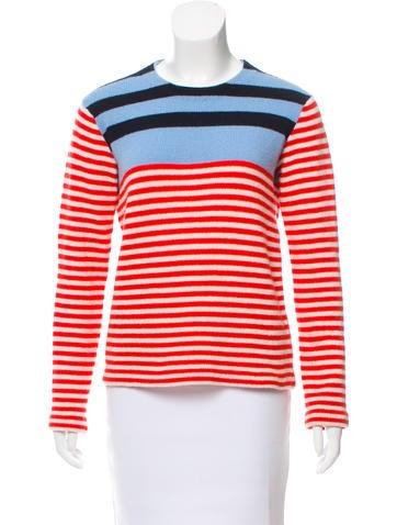 Prada Wool & Cashmere Striped Sweater None
