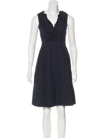 Prada Ruffle-Trimmed Sleeveless Dress None