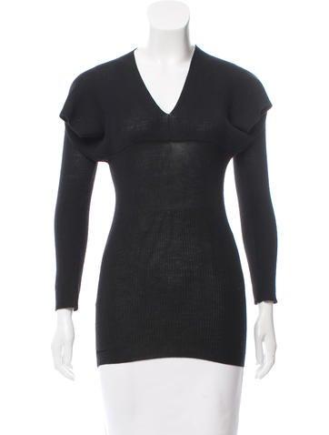 Prada Rib Knit V-Neck Sweater None