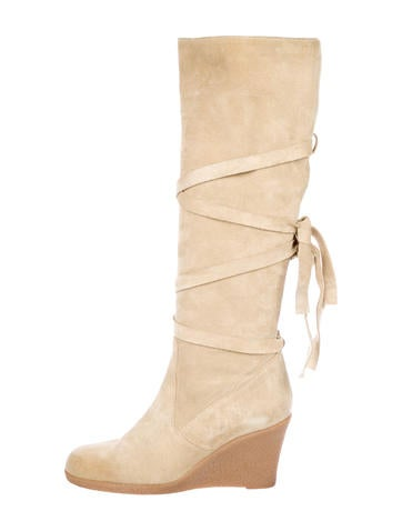 Prada Suede Wedge Knee-High Boots None