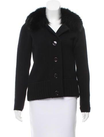 Prada Fur-Trimmed Knit Cardigan None