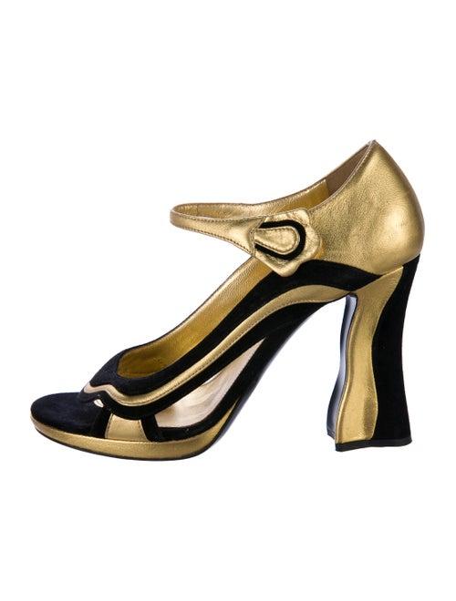 460f7b443 Prada Metallic Peep-Toe Pumps - Shoes - PRA185310