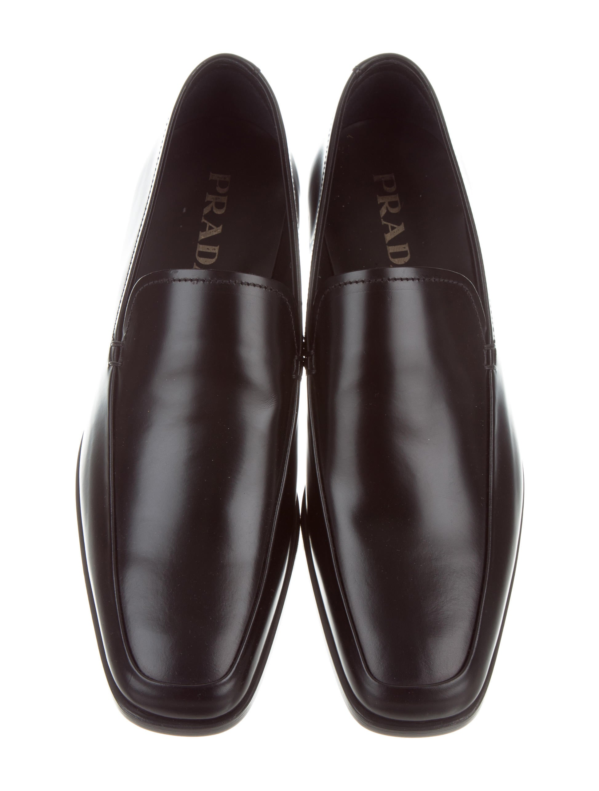 Prada Square-Toe Leather Loafers w/ Tags buy cheap find great websites cheap price HlfJiC
