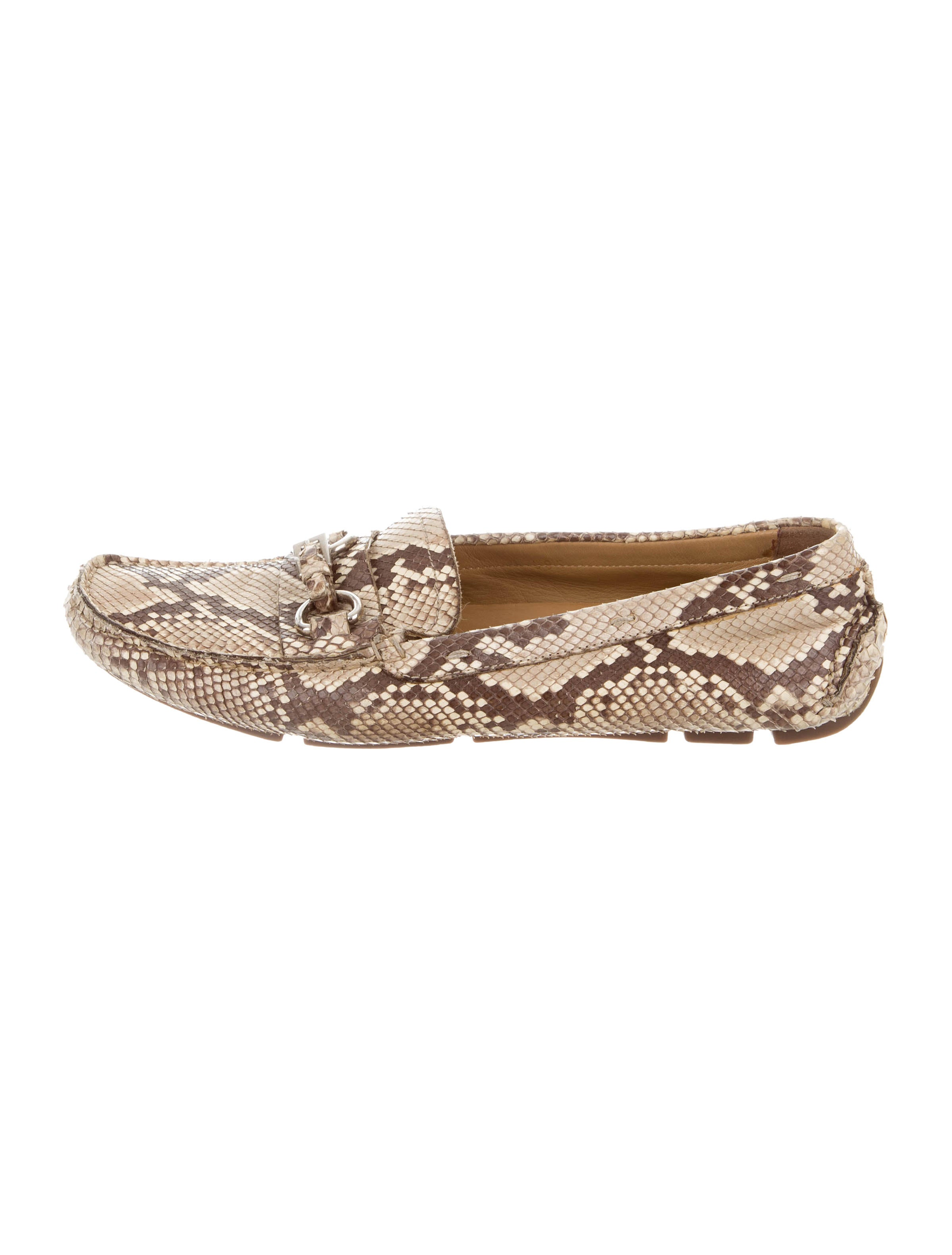 Prada Snakeskin Buckle-Accented Loafers buy cheap low shipping fee fOp87clg