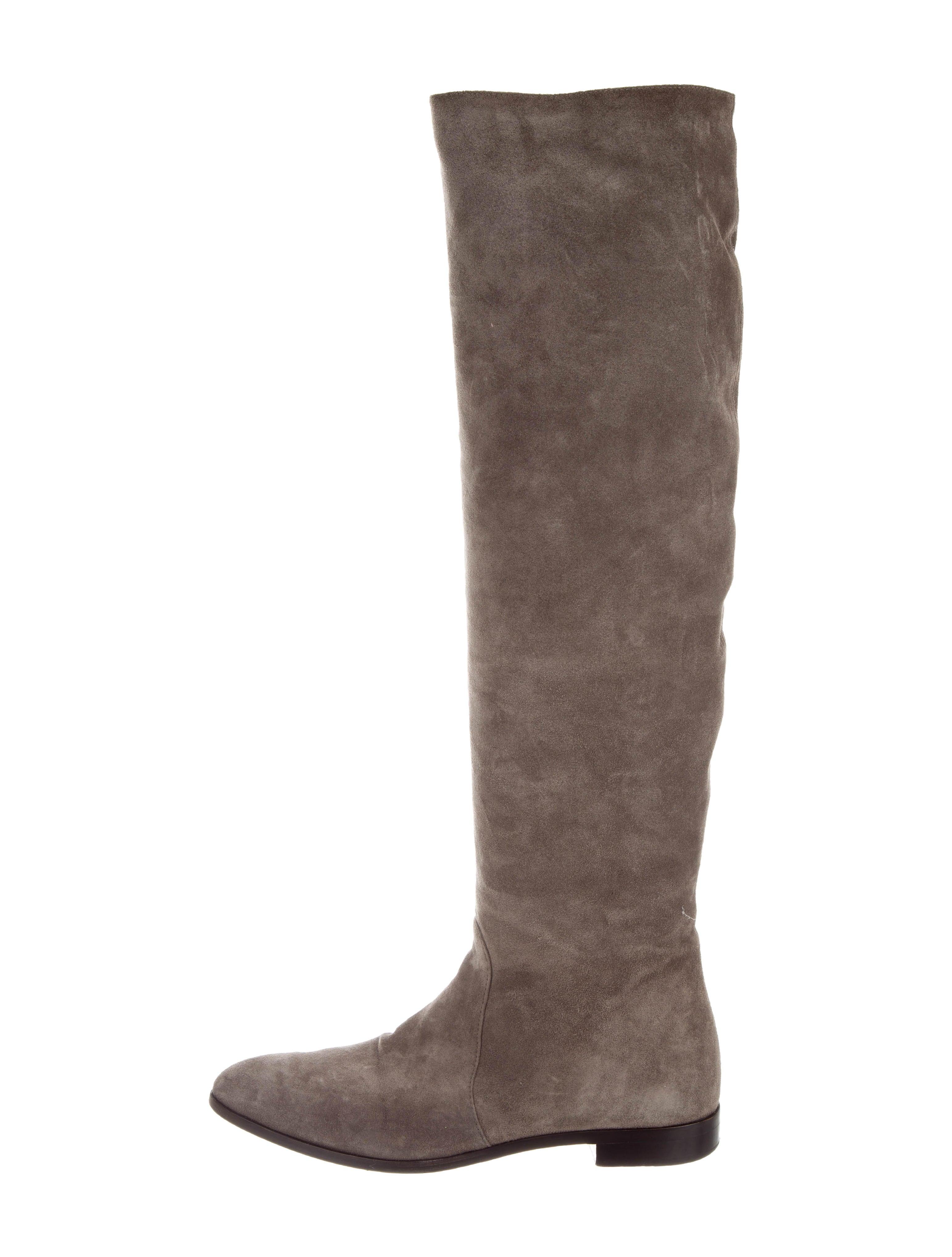 48aadf00da2 Prada Suede Over-The-Knee Boots - Shoes - PRA186569