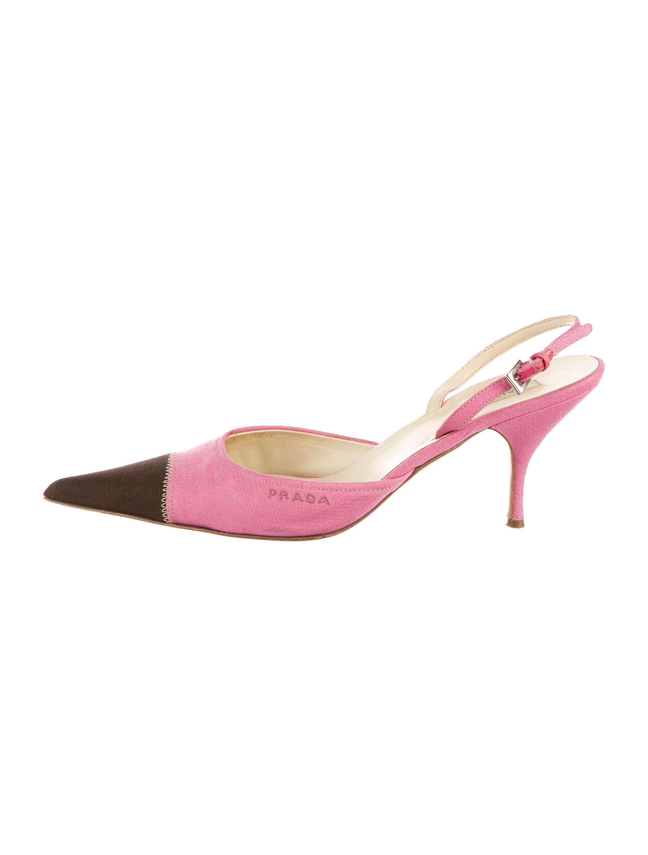 e412985445 Prada Cap-Toe Slingback Pumps - Shoes - PRA186795 | The RealReal