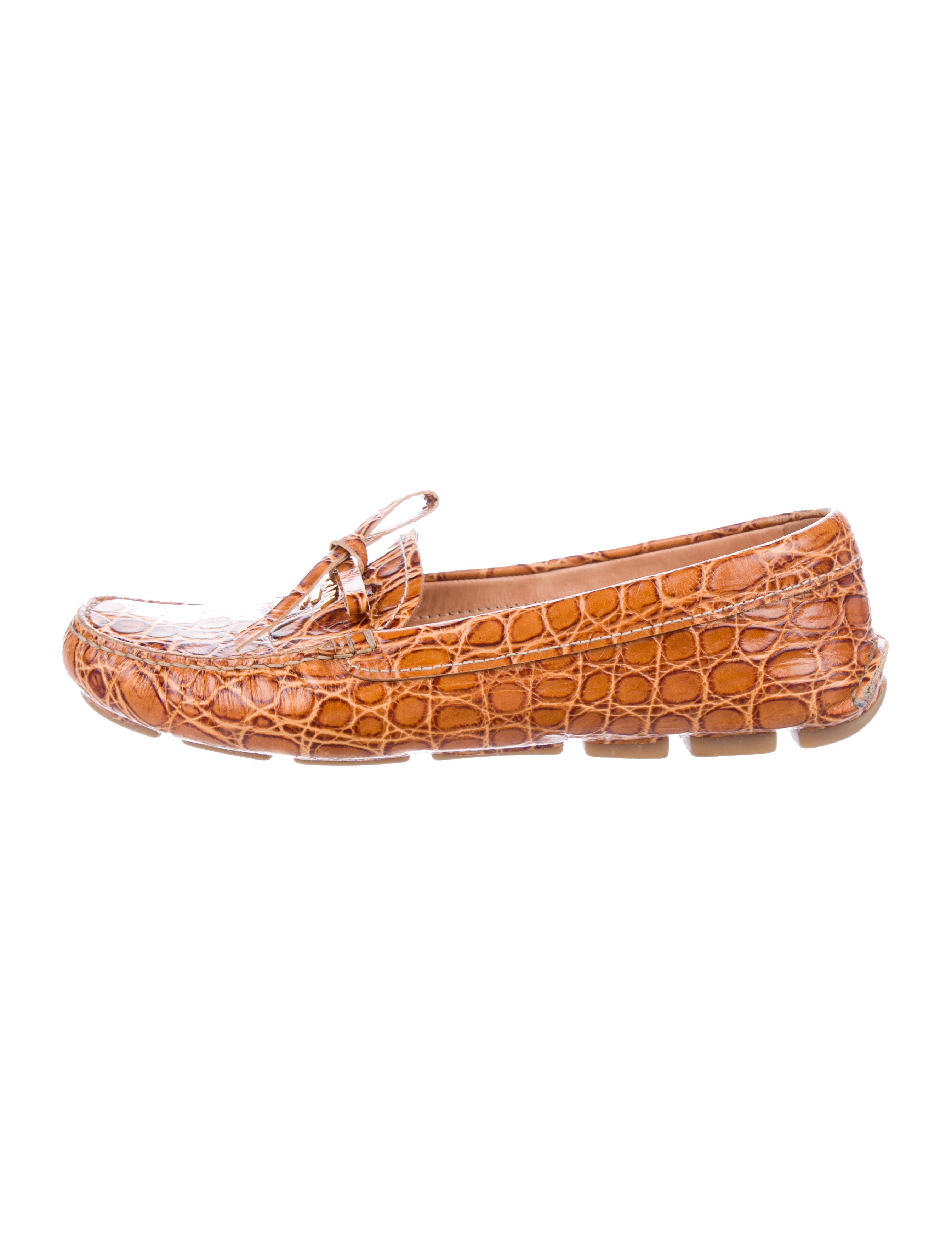 Prada Alligator Square-Toe Loafers 2014 unisex for sale free shipping classic cheap sale sast view for sale KPgLn