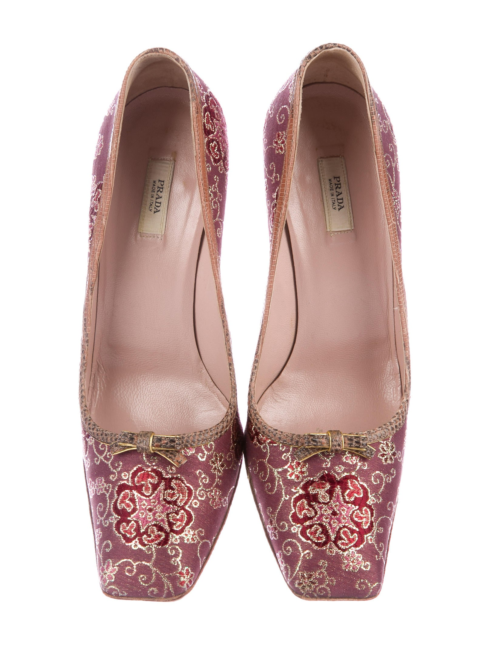 Prada Embroidered Square-Toe Pumps free shipping sale online cheap sale lowest price visit new cheap online fast delivery 8Ccycgy