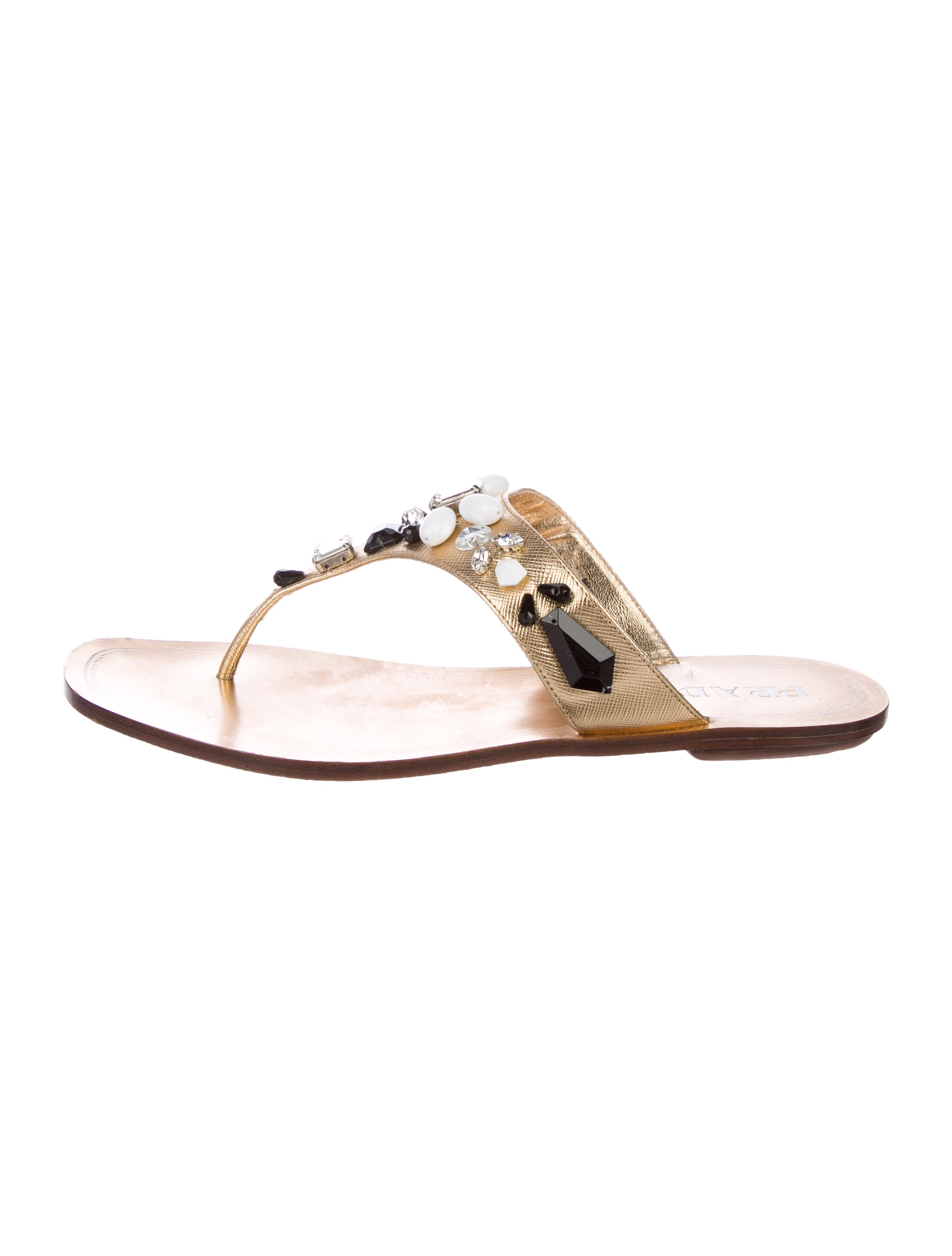 Prada Embellished Thong Sandals buy cheap real visa payment for sale low price fee shipping for sale 7ggXj