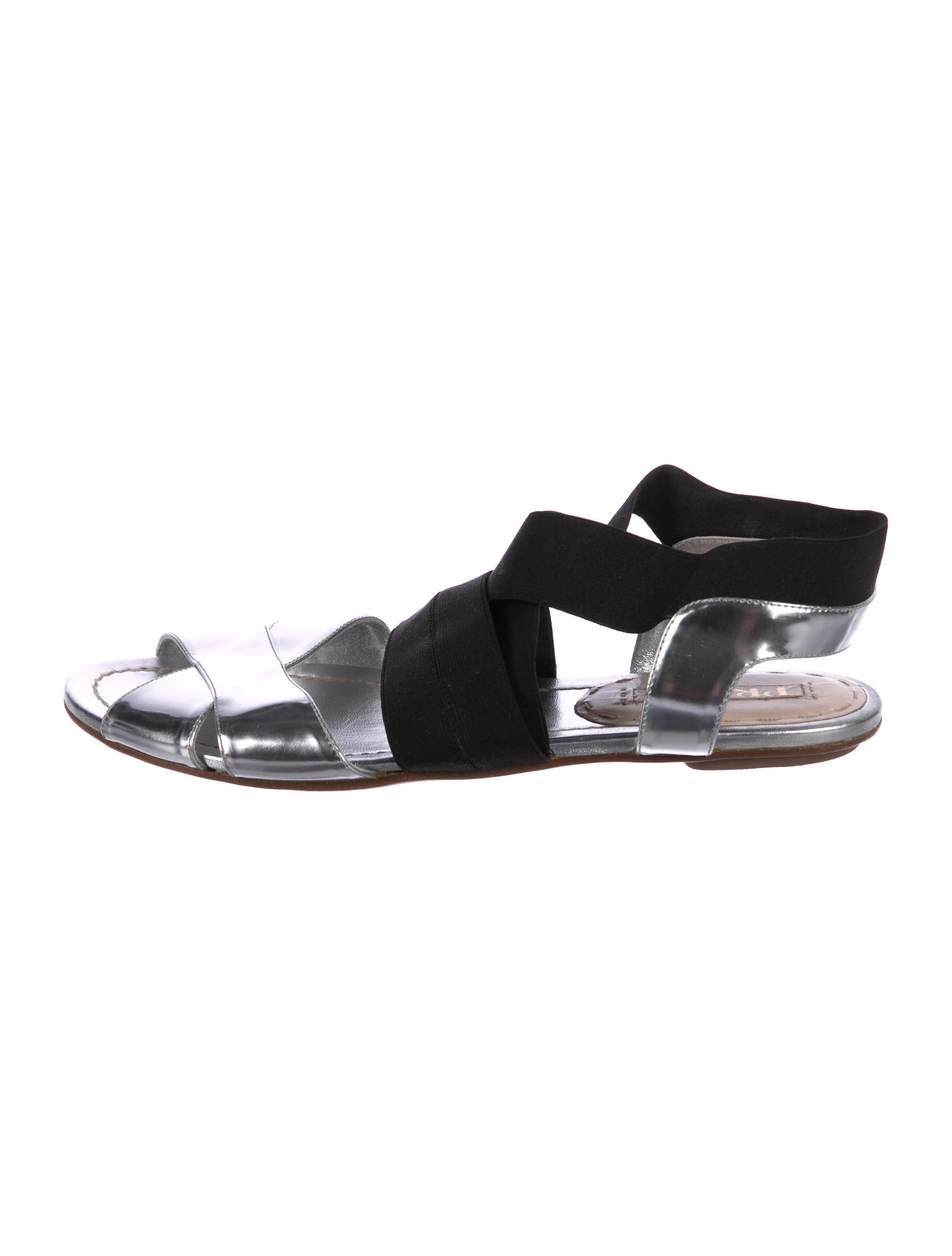pre order cheap online Prada Metallic Crossover Sandals largest supplier sale online hot sale cheap online marketable online Red pre order eastbay ZQYSuF9